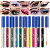 10 Colors Bright Matte Liquid Eyeliner, High Pigmented Waterproof Long Lasting Colorful Eyeshadow Eye Liner Pen Set Face Eye Makeup for Party Wedding and Cosplay