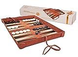 Sondergut- Backgammon - Echtleder Backgammon - Reise Backgammon Deluxe - Echtleder Spiel zum Einrollen - inkl Spielsteine und Würfel -