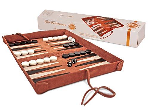 Sondergut- Backgammon - Echtleder Backgammon - Reise Backgammon Deluxe - Echtleder Spiel zum Einrollen - inkl Spielsteine und Würfel