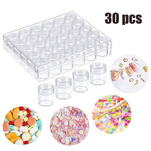 Fansport 30 Stück Kunststoff Dosen,Tragbare Transparent Klein Sortierbox Organizer Box Cremedose Leer für Kosmetisch, Strass, Perlen, DIY Handwerk