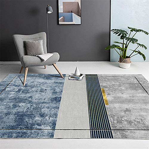 Kunsen La alfombras Resistente a Las Manchas Lavable La Alfombra Diseño de Tinta degradada Gris Verde Azul con decoración de línea Suave para salón Alfombras 100 * 160cm
