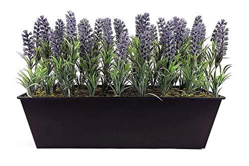 GreenBrokers Blumenkasten, künstlicher Lavendel, 45 cm, Schwarz
