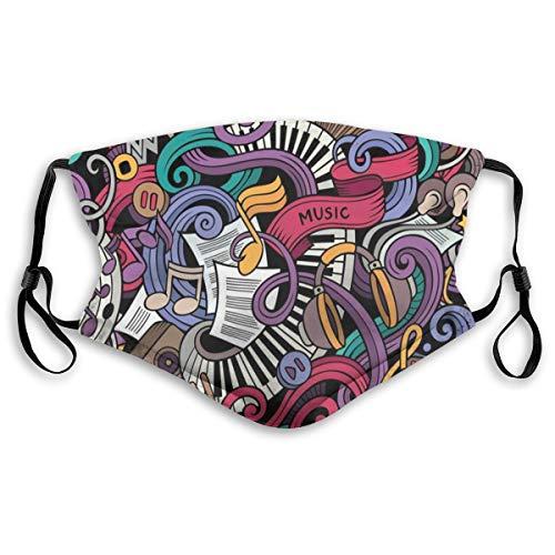 MundschutzAtmungsaktiveGesichtsmundabdeckungStaubdichter,Music Themed Hand Drawn Abstract Instruments Microphone Drums Keyboard Stradivarius,Gesichtsdekorationen,S