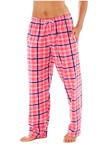 Mujer Selena Secrets Pantalones de andar por casa suave de cuadros Polar Pantalón De Pijama - CUADROS ROSA, 10-12