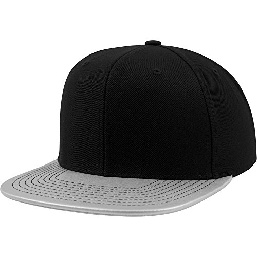 Flexfit Metall-Effekt Schirm Snapback Kappe (Packung mit 2) (Einheitsgröße) (Silber)