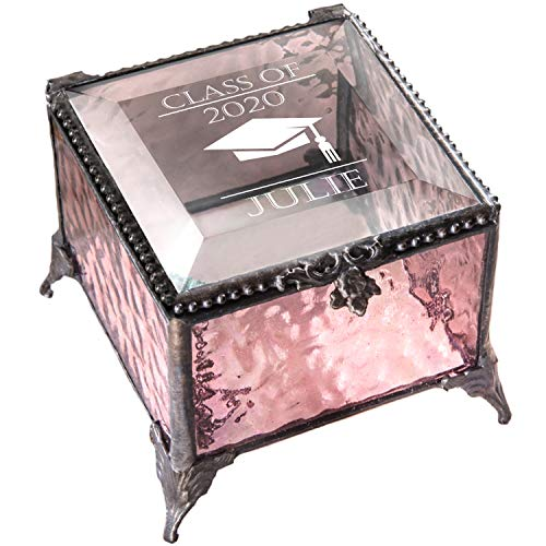 Personalized Graduation Gift For Her Glass Jewelry Box Engraved Keepsake For High School Graduate Or College Grad Class Of 2020 Daughter Granddaughter Girl Friend J Devlin Box EB240 (Pink)