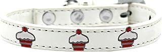 طوق بحليات الكب كيك الأحمر للكلاب من ميراج بت برودكتس 631-28 WT18، مقاس 18، أبيض