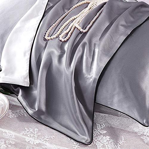 Silk Pillowcase 100% Mulberry Silk Pillowcase Silk Silk Heavy Beauty Hypoallergenic Pillowcase-38M Dark Gray 1_48Cmx74Cm