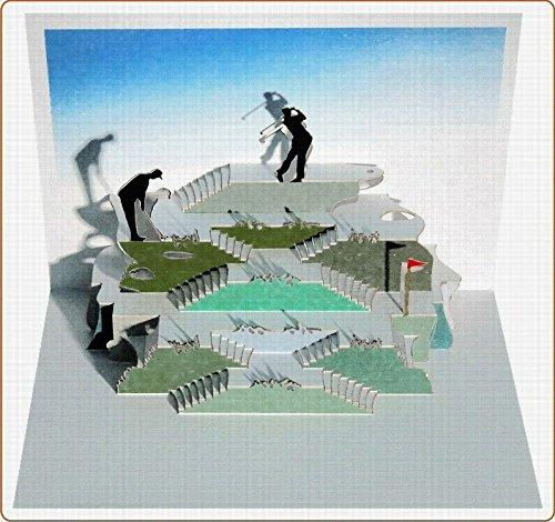 FOREVER Pop Up 3D Karte Herren Golf Grusskarte Geburtstag Gutschein Golfurlaub 16x11cm