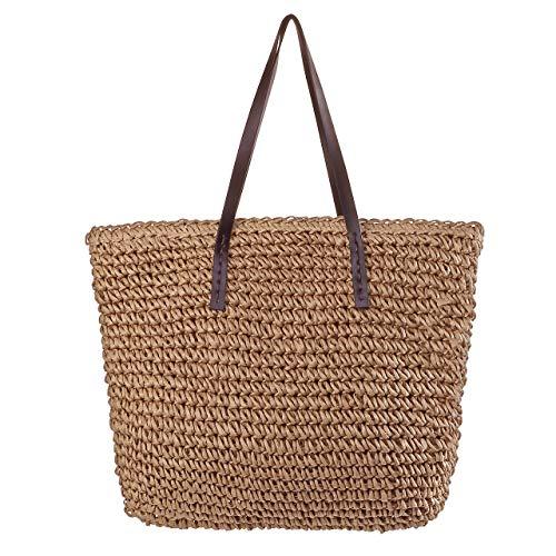 Chic diary, borsa in paglia da donna, da spalla, estiva, per la spesa, la spiaggia, i viaggi e lo shopping, marrone (Marrone) - QQDE1145