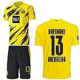 PUMA Borussia Dortmund BVB Heimset 2020 2021 Home Kit Sponsor BL Logo Kinder Raphaël Guerreiro 13 Gr 128