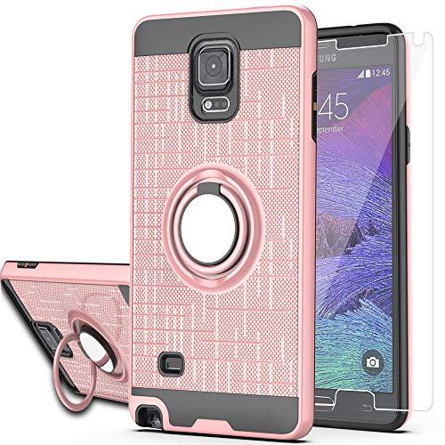 Note 4 case Galaxy Note 4 Case with HD Screen Protector,Ymhxcy 360 Degree Rotating Ring & Bracket Rubber Dual Layer Shock Bumper Resistant Back Cover for Samsung Galaxy Note 4-ZH Rose Gold