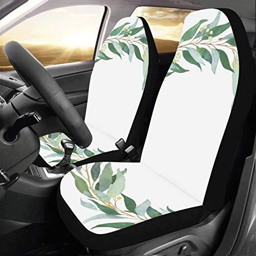Hojas eucalipto Decoración Verde Custom Universal Fit Auto Drive Fundas Asiento Coche Protector Aut