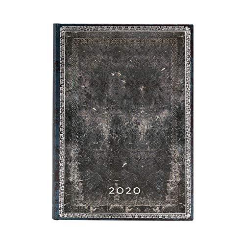 Paperblanks 12-Monatskalender 2020 | Mitternachtsstahl |Tagesüberblick | Midi (180 x 130 mm)