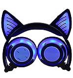 Olyre Cuffie Bluetooth Senza Fili, LIMSON Cuffia Pieghevole con Microfono, Auricolare Cat Ear con Luce a LED Lampeggiante BTR107(Blu)