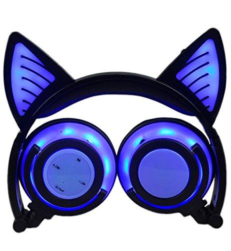 Limson Cuffie Bluetooth, Cuffie Pieghevoli Ricaricabili Microfono Incorporato, Cuffie con Orecchie di Gatto con Luce a LED Incandescente per Ragazze e Ragazzi BTR107 (Blu, 3,5 mm)