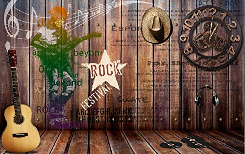 Photo Wallpaper Retro Nostalgic Rock Music Bar Background Wall Large Wall Mural Series Wallpaper for Living Room Wall Art Wall Decor Home Decor-98.4X68.9Inch