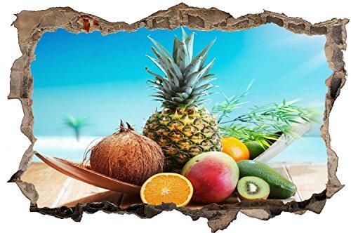 Obst Früchte Ananas Mango Orange Wandtattoo Wandsticker Wandaufkleber D0425 Größe 70 cm x 110 cm