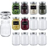 Mason Jars 16oz(12PACK) with Airtight Lids Glass Regular Mouth Large Pint Canning Ideal for Jam, Honey, Wedding Favors, Meal Prep, Food Storage, Canning, Drinking, Dry Food, Spices, Salads(16OZ)