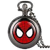 Reloj de bolsillo negro de cadena fina para niños Spider-Man patrón de cuarzo reloj de bolsillo para estudiantes árabe digital relojes de bolsillo para adolescentes