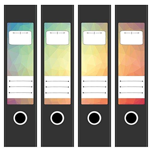 4 x Ordnerrücken Etiketten für breite Aktenordner im Set - Mit Design Motiv Waben Modern - Rückenschilder Aufkleber (6 cm breit) für Ordner - selbstklebend, beschreibbar