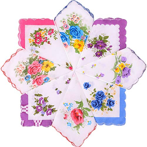 8 Piezas Pañuelos de Mujer Pañuelos Florales Suaves Pañuelos de Bordado Vintage Pañuelos de Algodón para Mujeres Niñas, Diferentes Estilos al Azar