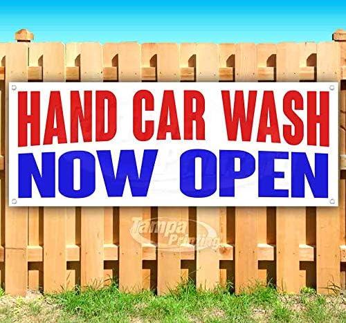 Hand Car Wash Now Open 品質検査済 13 Heavy-Duty Non-Fabric Vi 買い取り oz Banner