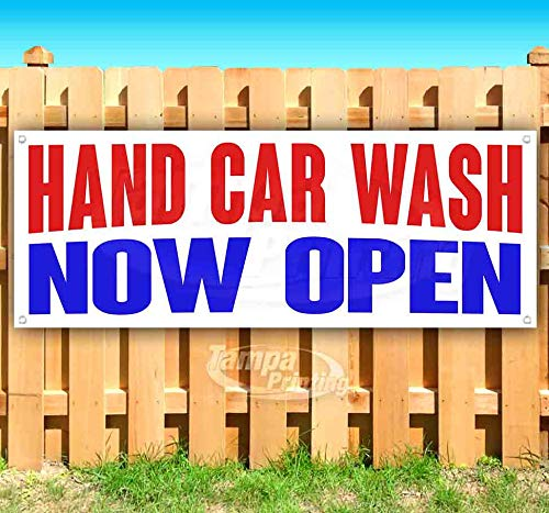 Hand CAR WASH Now Open 13 oz Heavy Duty Vinyl Banner Sign with Metal Grommets, New, Store, Advertising, Flag, (Many Sizes Available)