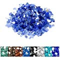 onlyfire 10 Pounds Reflective Tempered Fire Glass for Natural or Propane Fire Pit Fireplace & Landscaping, 1/4 inch High Luster Cobalt Blue