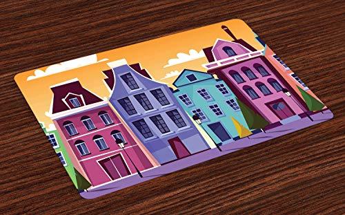 ABAKUHAUS Amsterdam Placemat Set van 4, Straten Nederlandse Residences, Wasbare Stoffen Placemat voor Eettafel, Pale Orange Multicolor