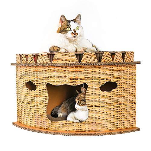 WAHHW Carta Ondulata Nido di Gatto,Gazebo Traspirante a Forma di Ventaglio Lettino Calmante per Animali Domestici,Giocattoli Quando Sei Annoiato, Risparmia Spazio E può Macinare Gli Artigli