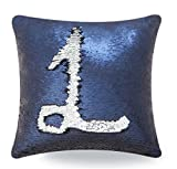 Livedeal Reversible Sequins Mermaid Pillow Cases 4040cm Navy Blue and Silver