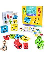Sinwind Puzzle Assorti Emoji Bois, Cubes de Construction Magic Cubes de Puzzle géométrique drôle Emoji, Cube en Bois Jouets Montessori, Jeu dassociation Jouets Formation Pensée Logique Interactifs