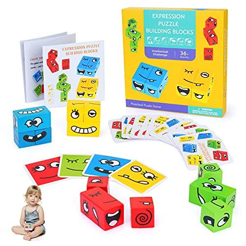 Sinwind Cubi di Costruzione di Puzzle di Espressione, 12 Pezzo Cambia Faccia Cubo Building Block Espressione Puzzle Montessori Con 50 Carte Gioco, Giocattoli in Legno Gioco di Abbinamento Emoji
