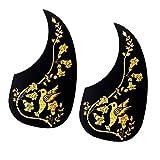 perfk 40/41 Zoll Folk Akustische Gitarre Schutzplatte Pickguard Blume Vogel Form Schlagbrett - goldene Blume