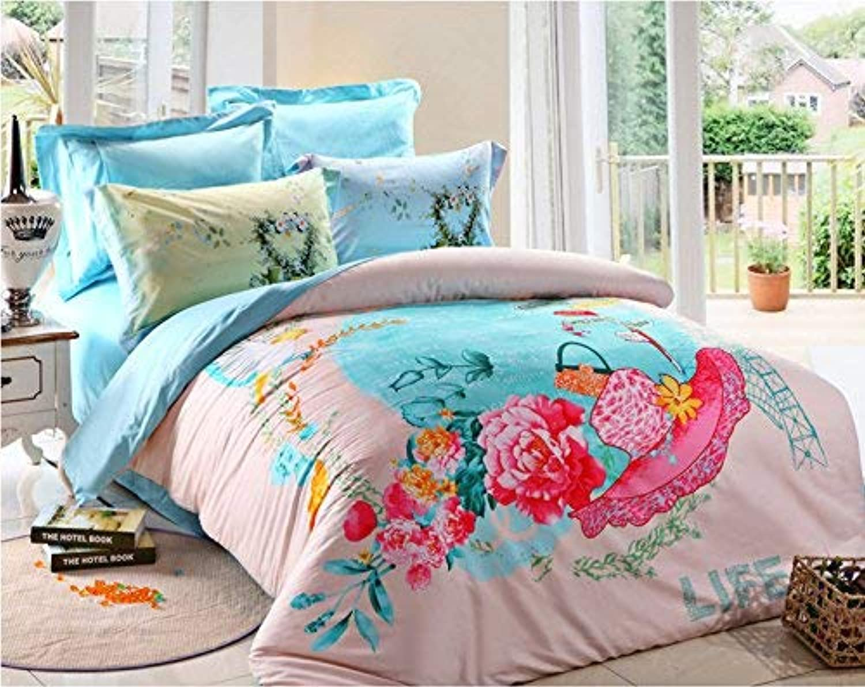 Norson Pink Bedding Sets Best Gift for Teen Girls Beauty Forever Rabbit 100% Cotton 4pcs Bedroom Set (3, Queen)