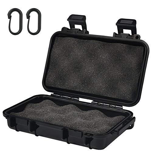 VGEBY Boîte Etanche Coffre Case de Rangement Étui Imperméable Antichoc en Plastique avec 2 Boucles Forme U pour Pêche Camping Randonnée (Couleur : Noir, Taille : S)