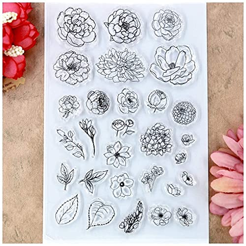 Flowers Leaves Clear Stamps for Card Making Decoration and DIY Scrapbooking