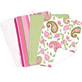 Trend Lab 100% Cotton Paisley Park Blooming Bouquet Burp Cloth Set, 4 Pack Pink/Green/White