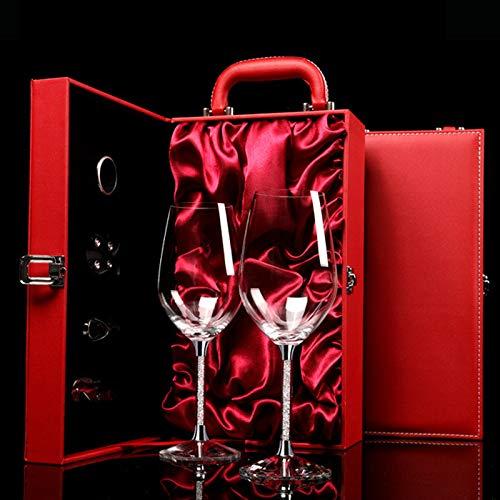 JHM-Copa de Vino de Diamante Vaso Diseñada para Varias Variedades de UVA Cumpleaños Boda con Maleta de Cuero Rojo Caja de Regalo