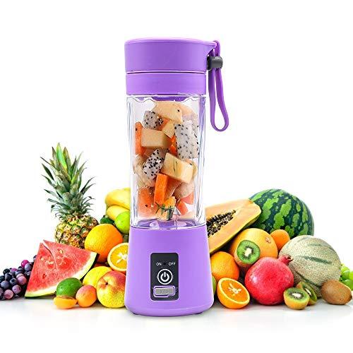 KKMOL Licuadora portátil recargable por USB, batidora personal pequeña de frutas, licuadora eléctrica, vaso mezclador de frutas, botella de 380 ml, color morado