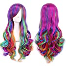 "Wigs 70cm / 28"" Women's Hair Wig Long Big Wavy Hair Heat Resistant Multi Color Wig for Cosplay/Halloween Party Costume My Little Pony(Rainbow)"