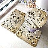 GABRI Bambú Juego de alfombras de baño de 3 Piezas Gradiente Hojas de bambú Flexibilidad Estructura de raíz compleja Viajeros estables Alfombra de Contorno con Tapa