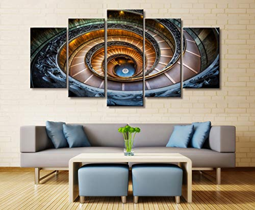 yuandp Wandkunstplakat Malerei modulares Bild Dekoration Zeichnung des Wohnzimmers auf Leinwand drucken 5 Wendeltreppe Architektur Rahmen