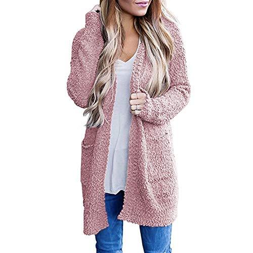 YQUC Frauen Langarm-Top Casual Langarm Vorne Offen Weiche Chunky Knit Sweater Cardigan Oberbekleidung Mit Zwei Taschen Strickjacke Mäntel Strick-Block (Color : Pink, Size : L)