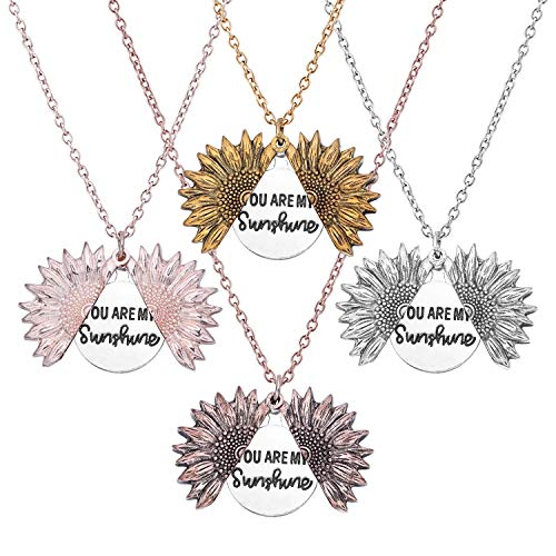 Farram 4 Pieces You Are My Sunshine Engraved Necklace Different Colors Sunflower Locket Necklace Pendant Gifts For Women,Girls,Lover