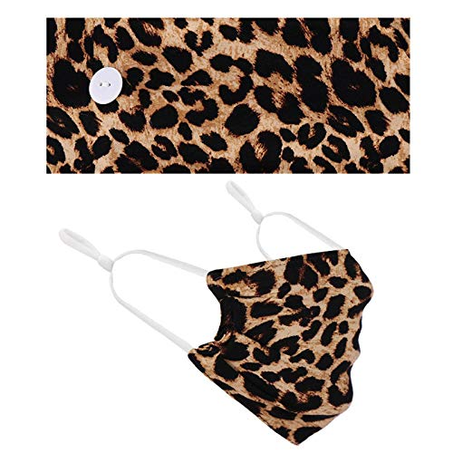 Koippimel 2pcs, Womens Fashion Leopard Face_Mask Reusable and Headband Set, Adult Breathable Cloth Fabric_Masks Washable for Nose and Mouth Safety Protection, Anti-Dust, 1124 Style_075