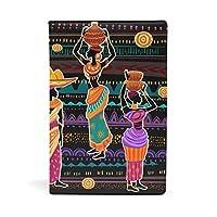 SoreSore(ソレソレ) ブックカバー a5 アフリカ 女性 民族風 黒 ブラック 皮革 レザー 文庫本 ノートカバー メモ 手帳カバー 革 A5 かわいい おしゃれ