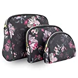 Once Upon A Rose 3 Pc Cosmetic Bag Set, Purse Size Makeup Bag for Women, Toiletry Travel Bag, Makeup Organizer, Cosmetic Bag for Girls Zippered Pouch Set, Large, Medium, Small (Pink Floral Design)