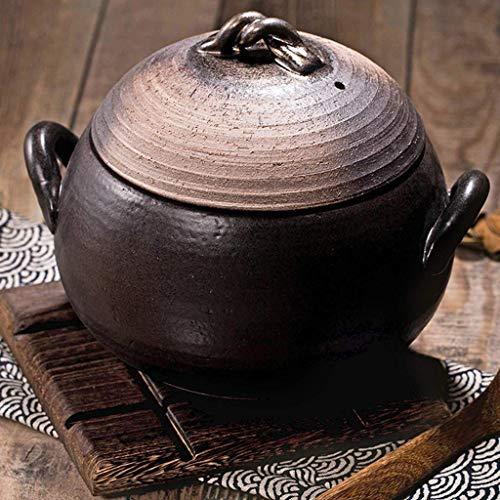 YGB Gesunder japanischer Reiskocher mit Deckel Rundkeramik-Topf Slow Clay Stew Pot Tontopf Hitzebeständiger Hot Rice Cooker Health Pot A 4.5L